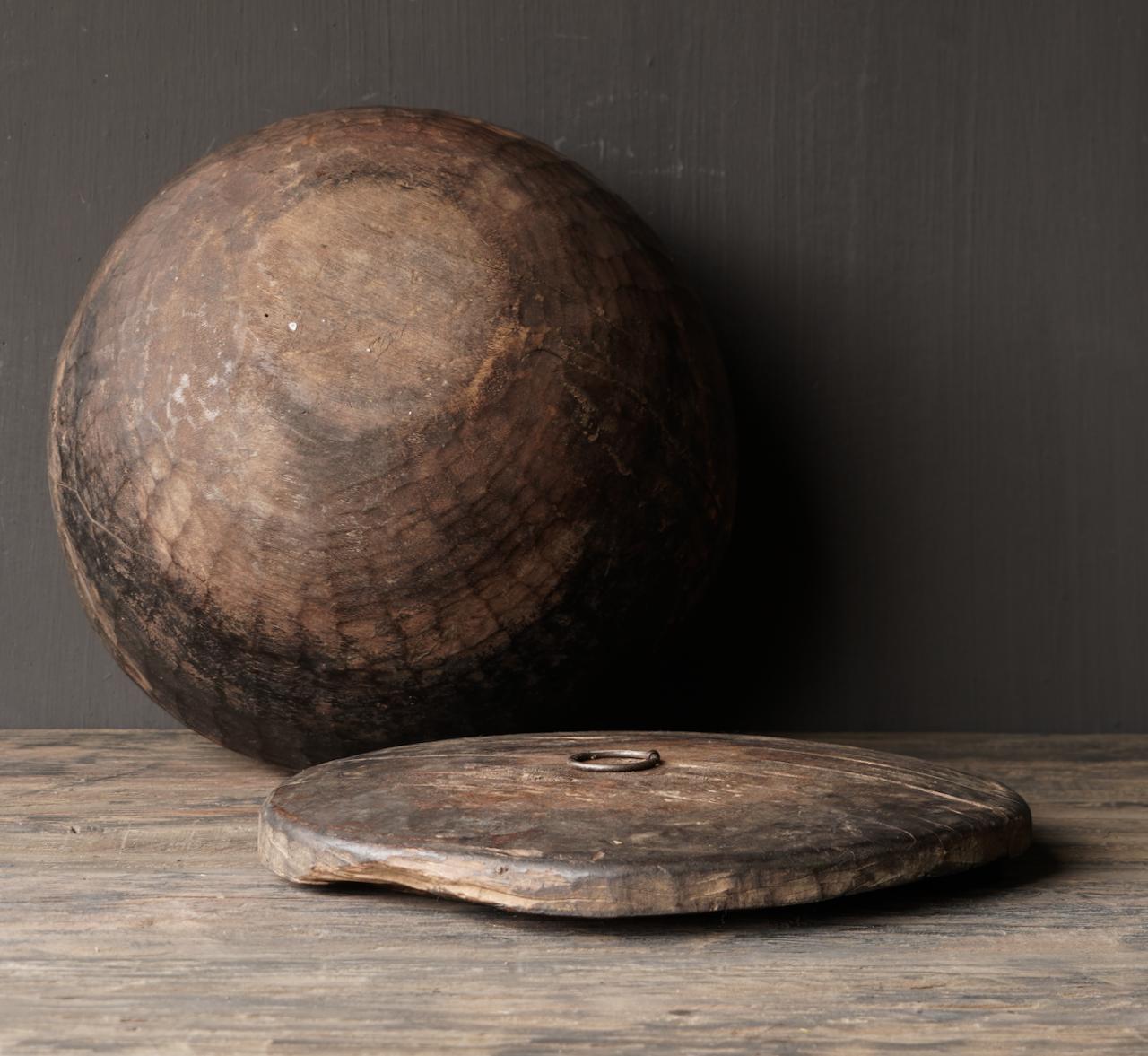 Oude Authentieke houten schaal met deksel-7