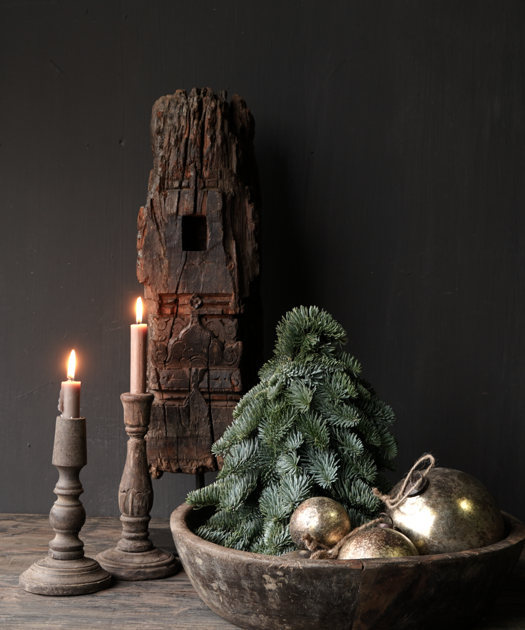Wooden ornament on iron stand-1