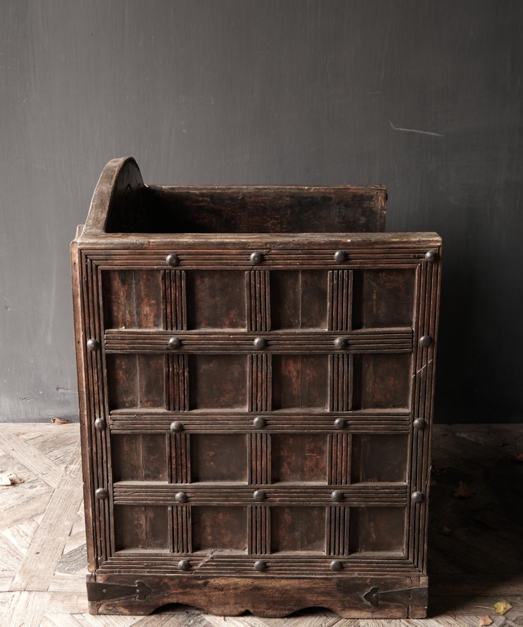 Uniek Antiek houten indische stoel-5
