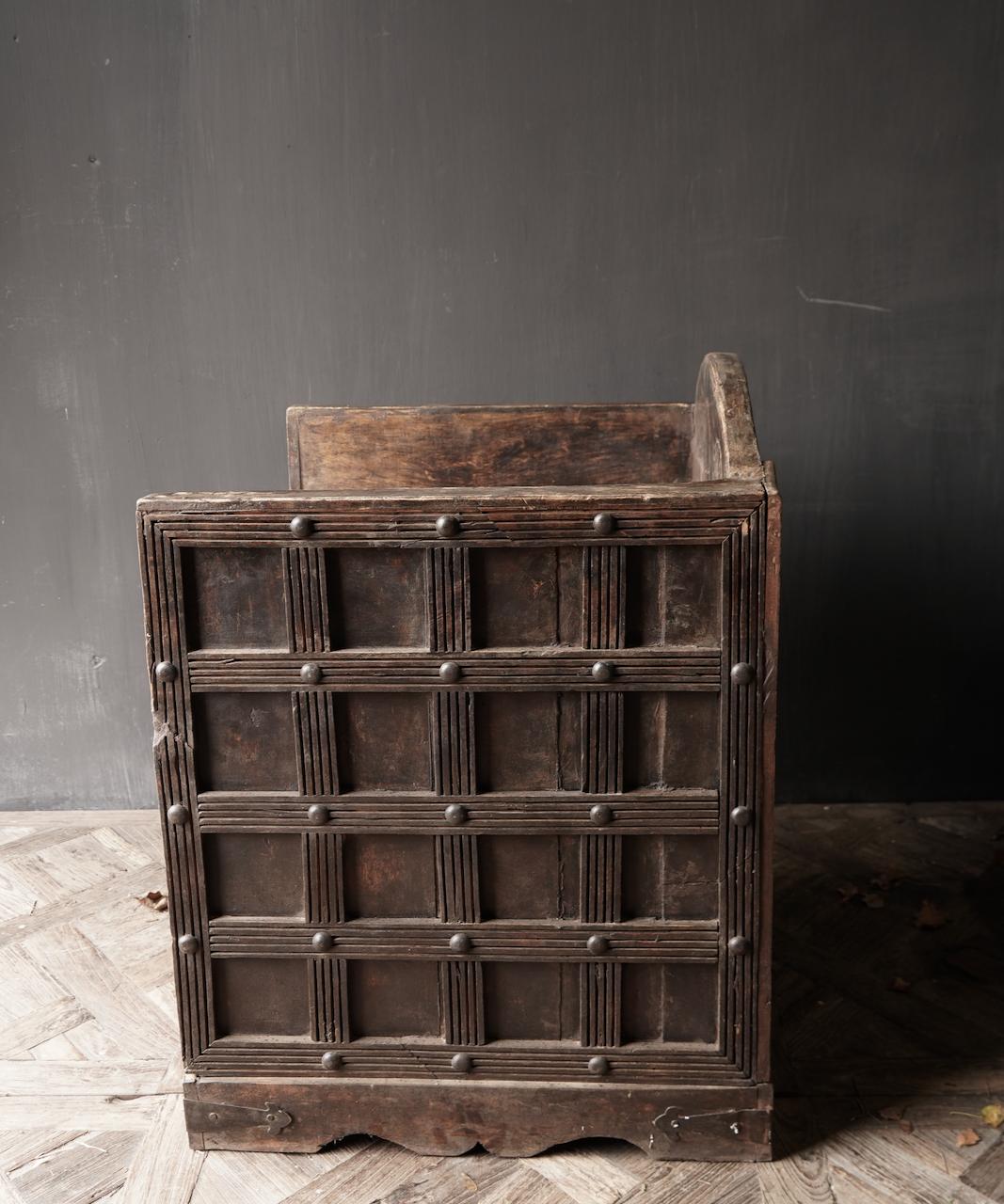 Uniek Antiek houten indische stoel-6