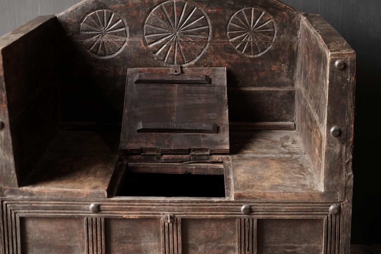 Uniek Antiek houten indische stoel-4