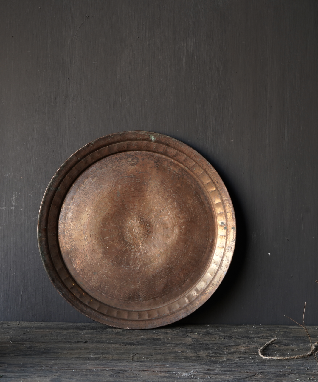 Authentic old bronze hand-studded plate-2