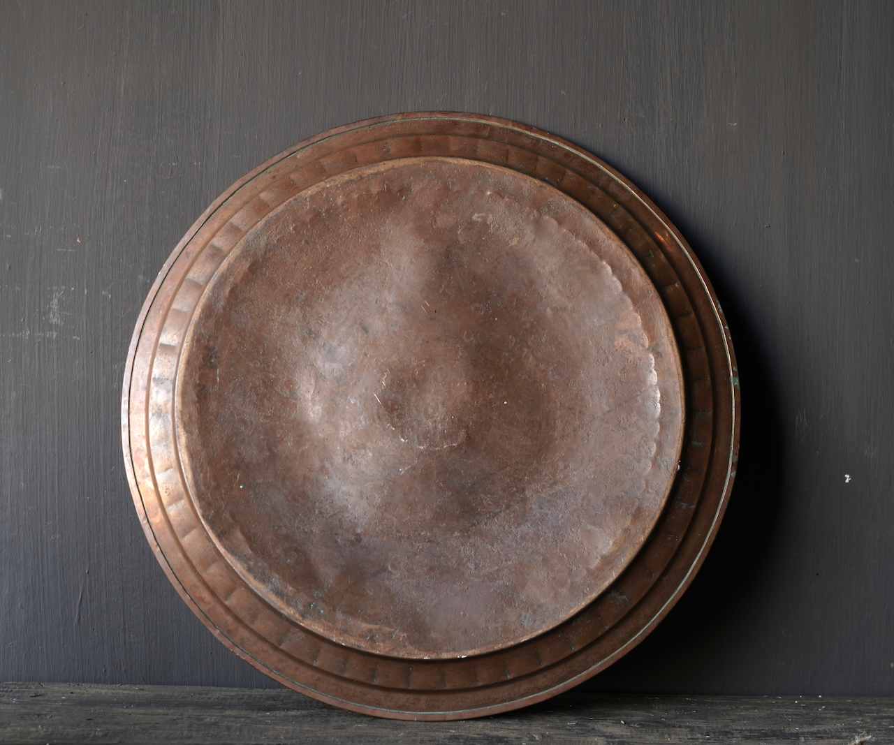 Authentic old bronze hand-studded plate-3