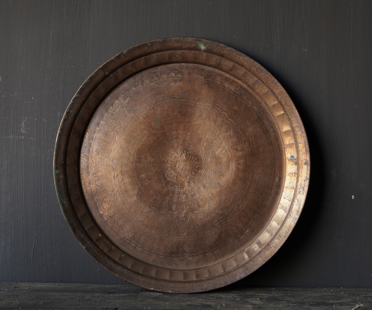 Authentic old bronze hand-studded plate-5