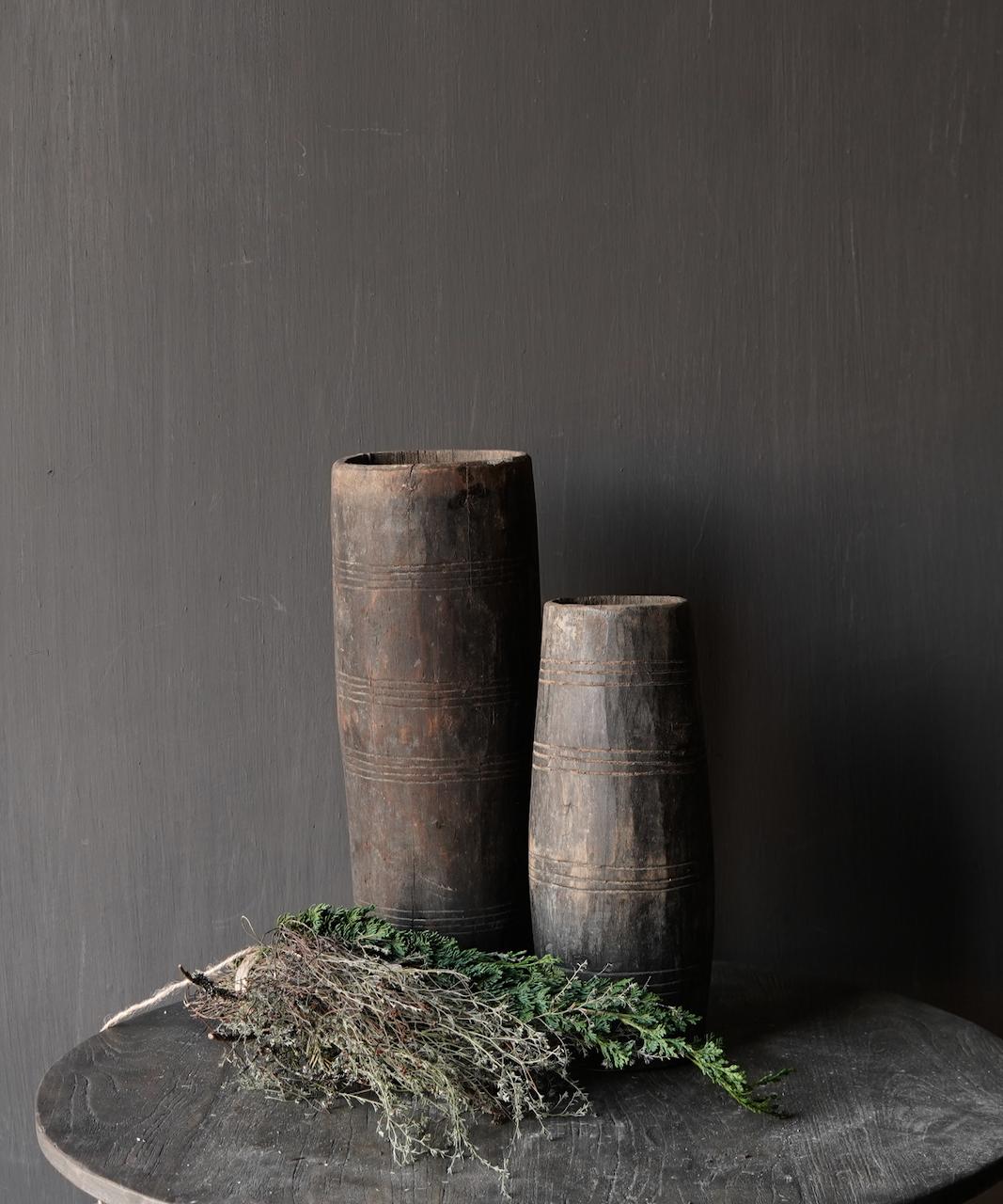 Uniek oud houten vaas zonder bodem gemaakt van een Authentieke trommel-2