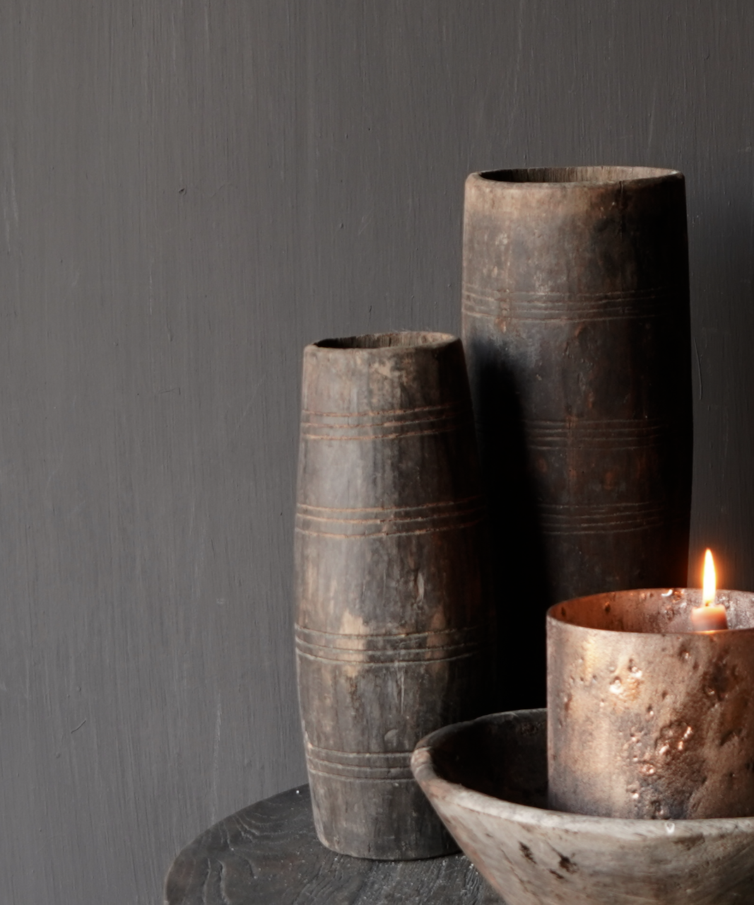Uniek oud houten vaas zonder bodem gemaakt van een Authentieke trommel-1
