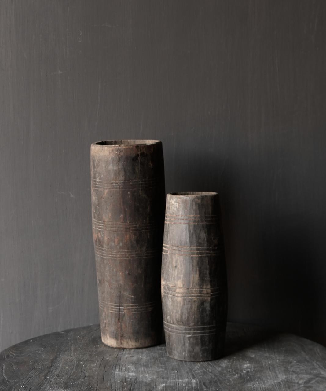 Uniek oud houten vaas zonder bodem gemaakt van een Authentieke trommel-3