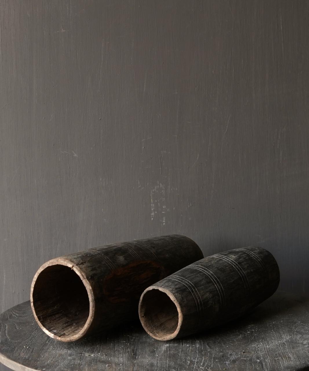Uniek oud houten vaas zonder bodem gemaakt van een Authentieke trommel-4