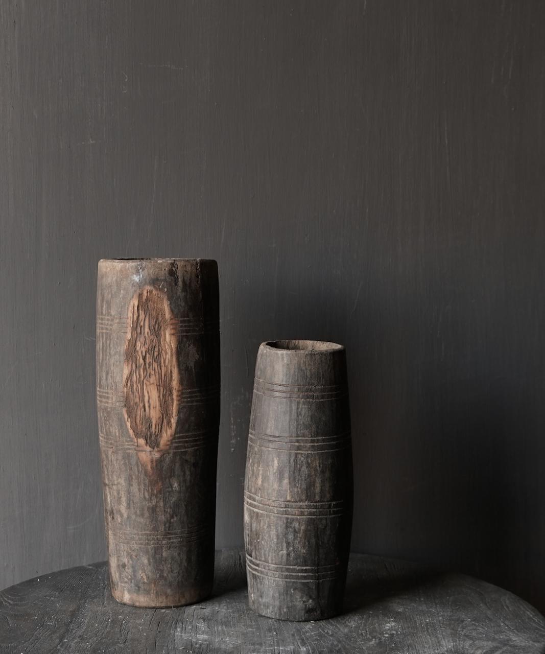 Uniek oud houten vaas zonder bodem gemaakt van een Authentieke trommel-5