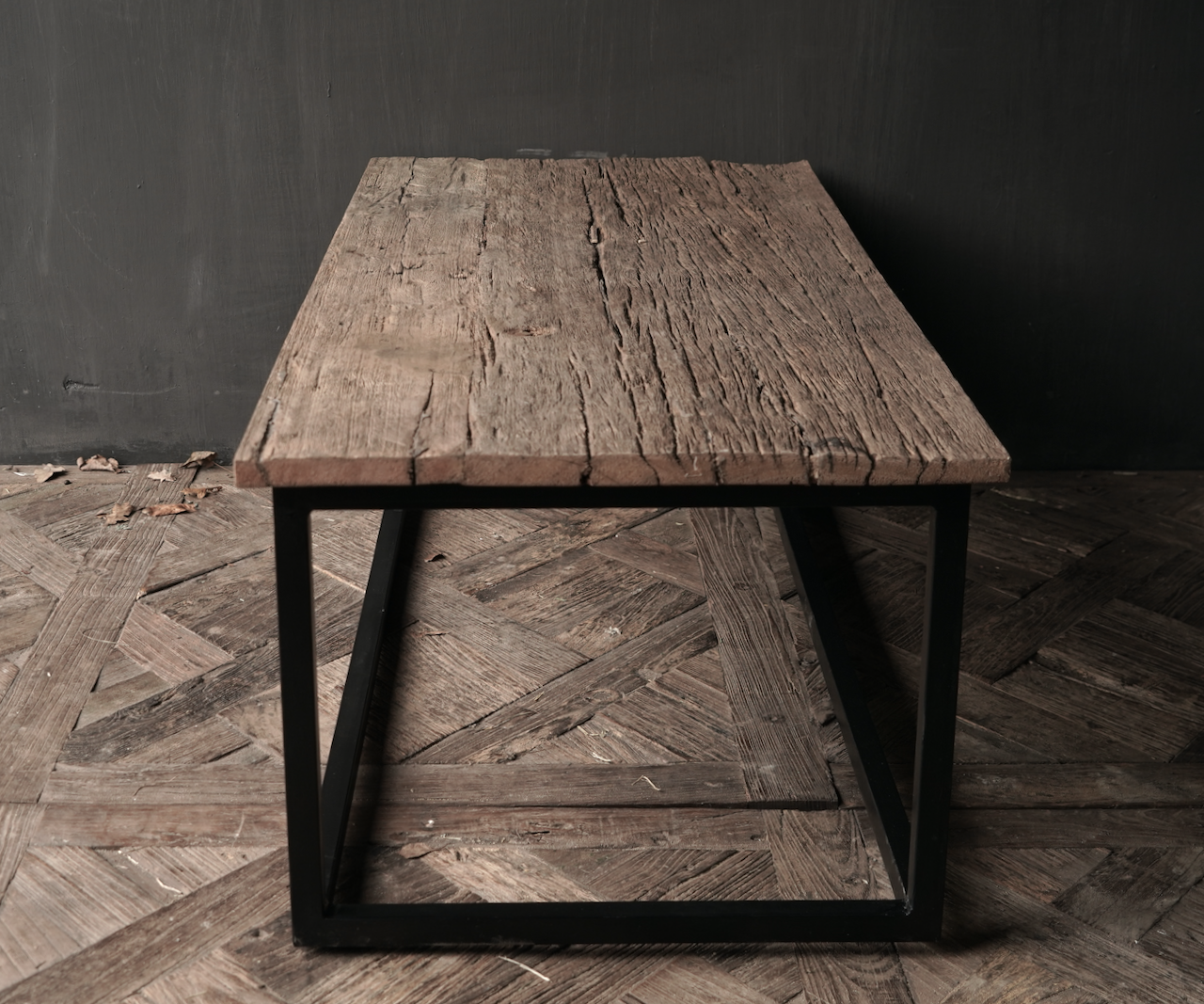 Tough robust old wooden coffee table with iron base-3