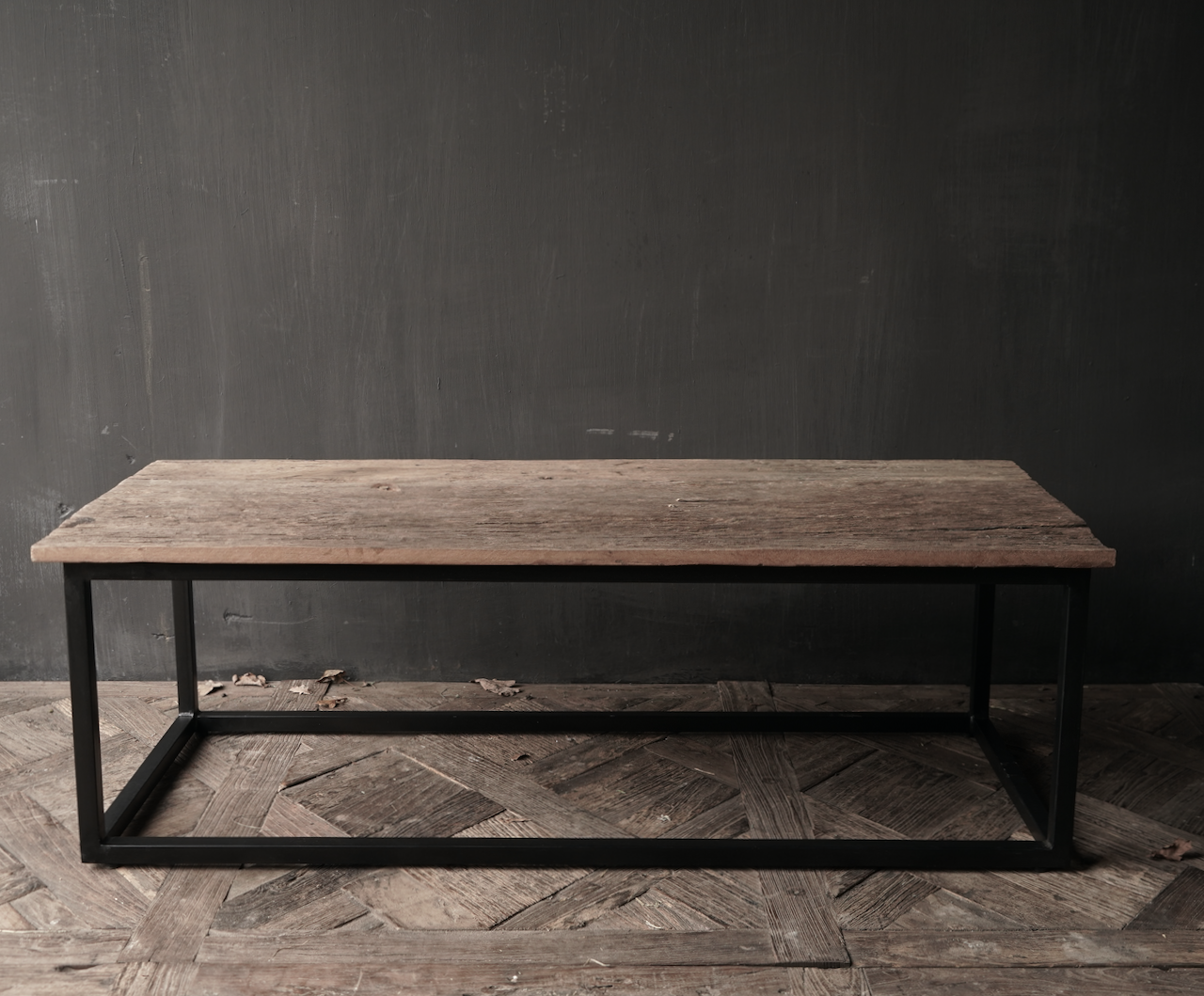 Tough robust old wooden coffee table with iron base-5