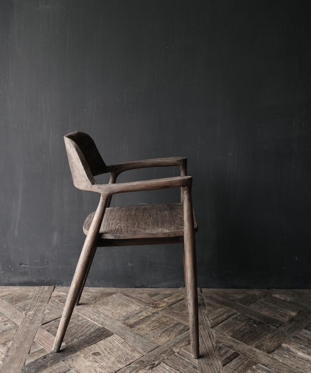 Alter alter Holzsessel aus Teakholz-4