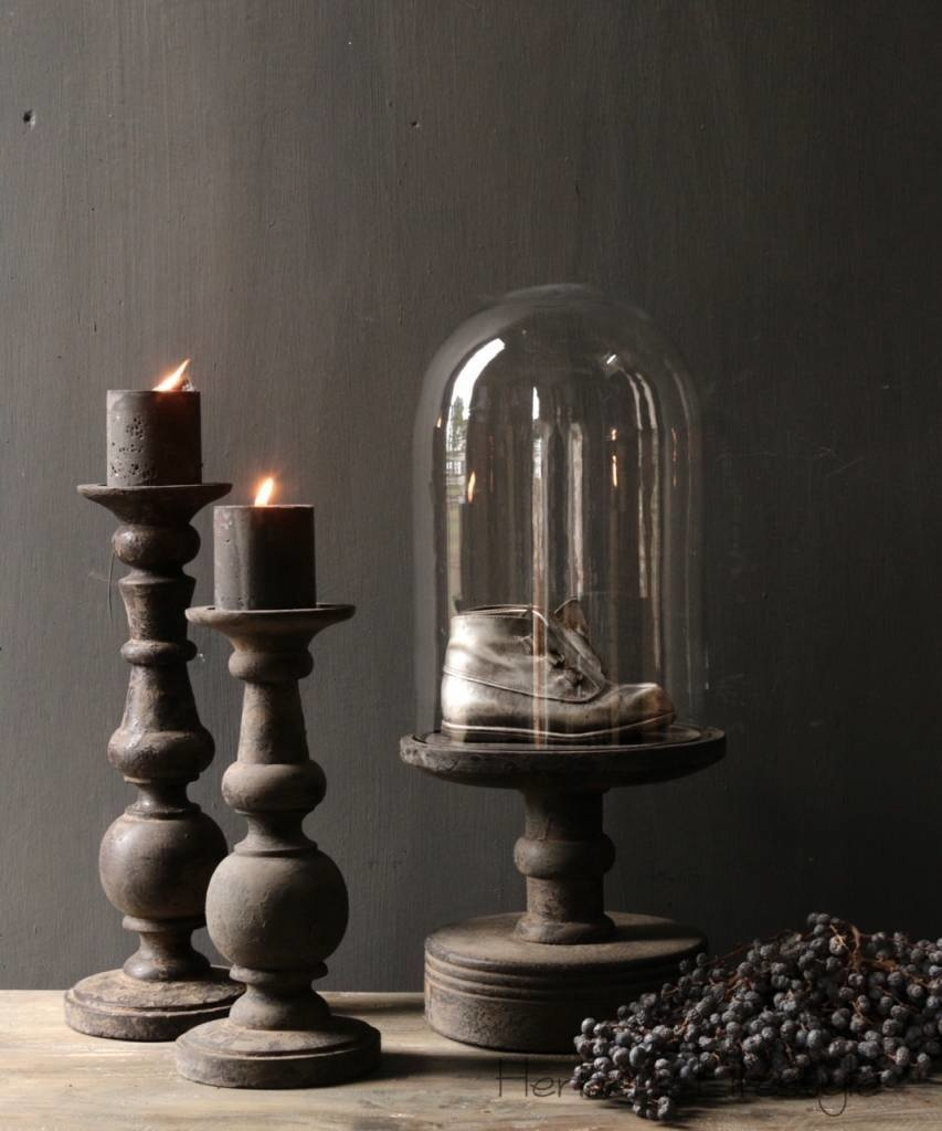Glass bell jar on a high old wooden base-5