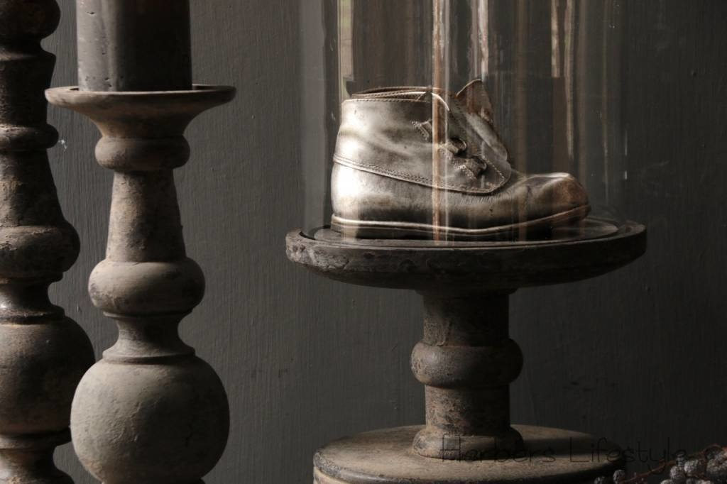 Glass bell jar on a high old wooden base-7