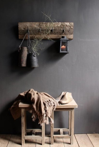 Coat rack made of old railway wood with iron hooks
