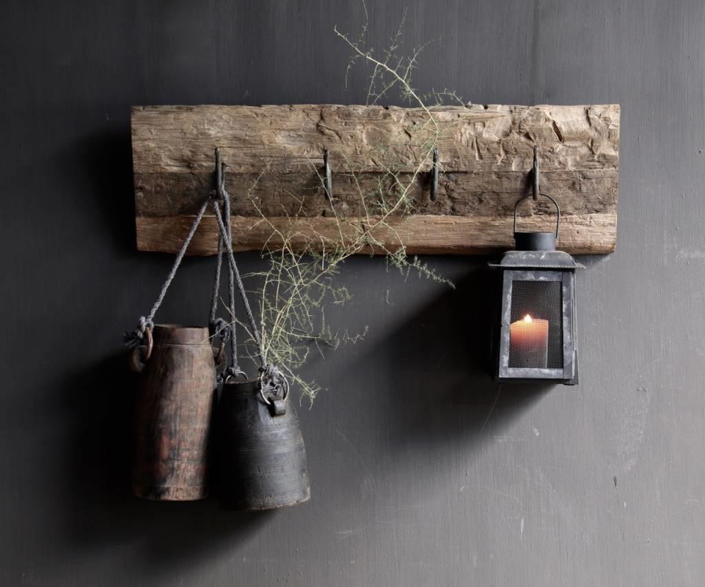 Kapstok van oud hout met  ijzeren haken-2