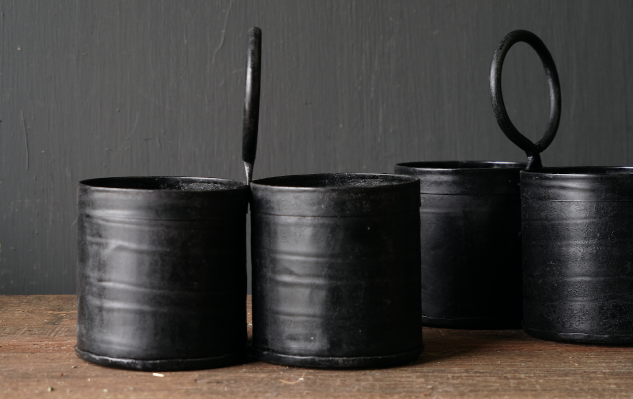 Black Iron cups 2 together with handle-2
