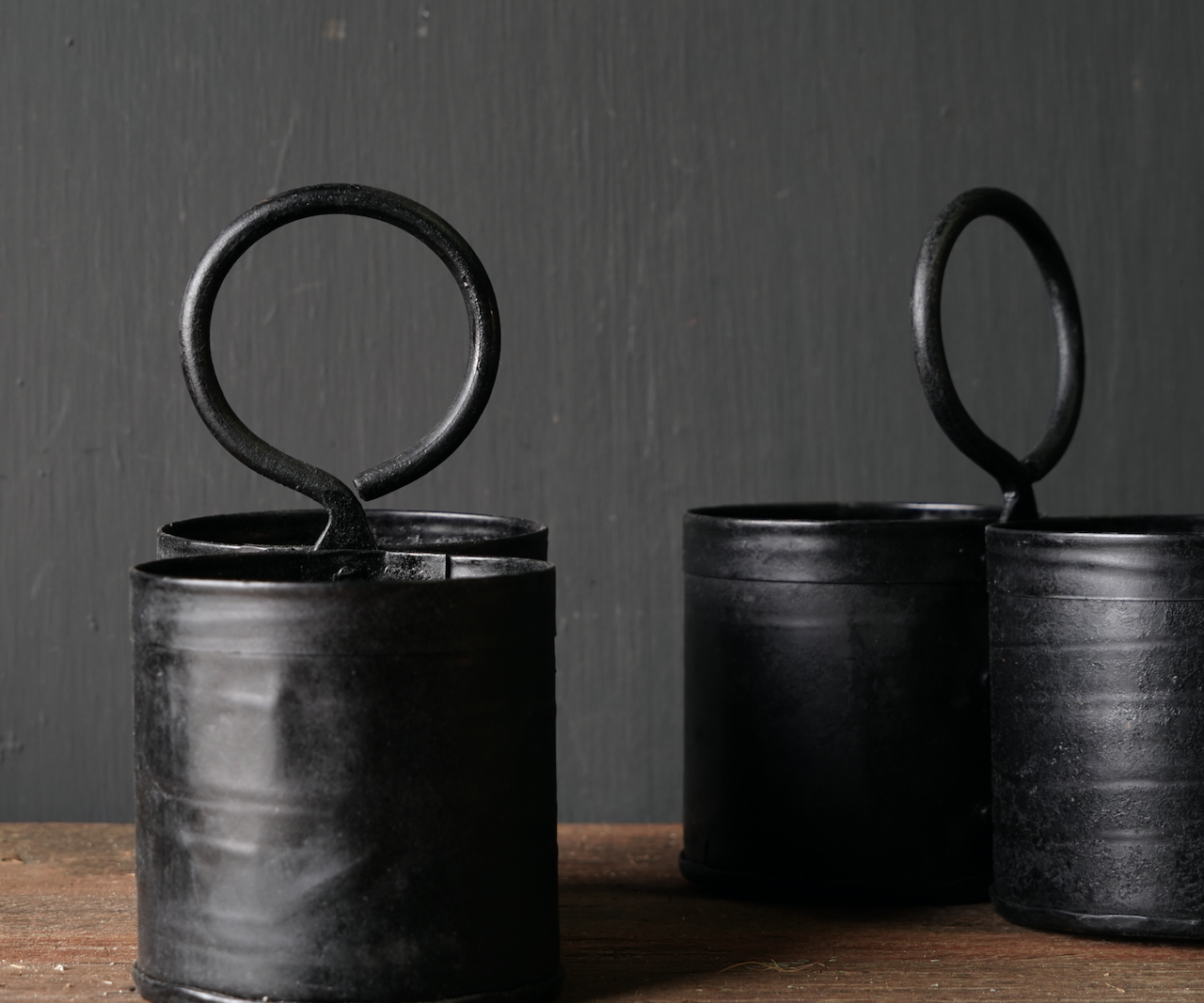 Black Iron cups 2 together with handle-4