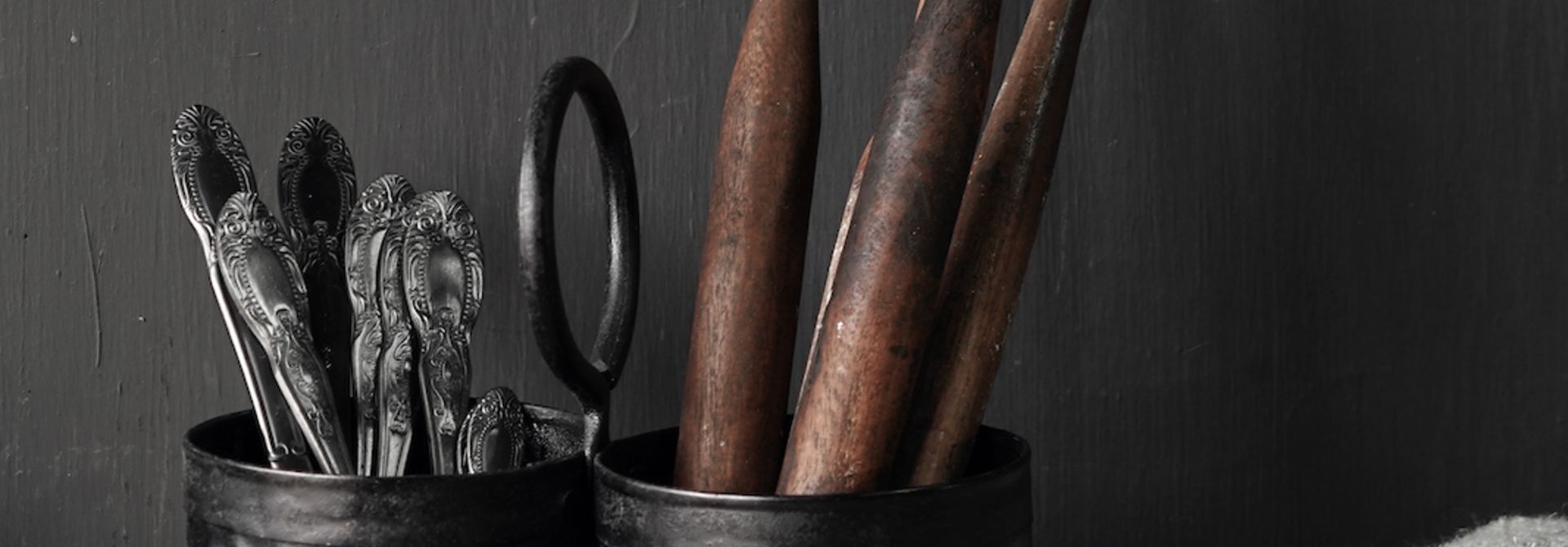 Black Iron cups 2 together with handle