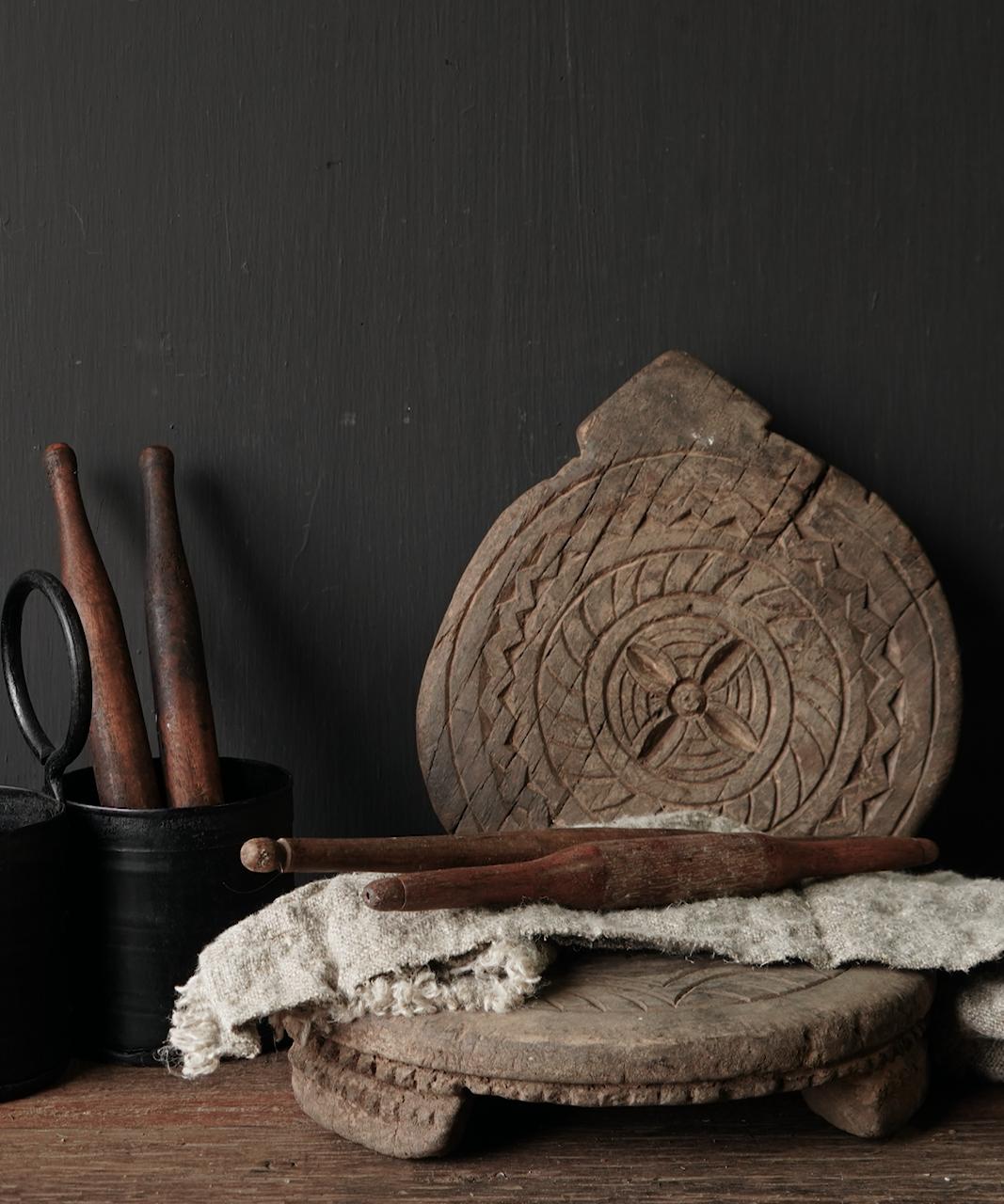 Small wooden chapati dough roll-1