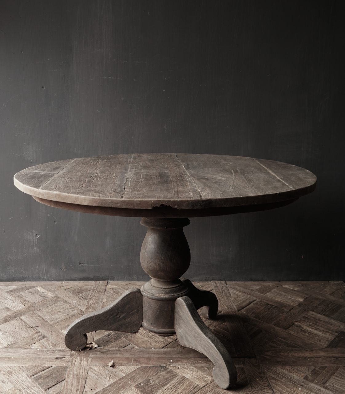 Tough robust round table made of old used wood-2