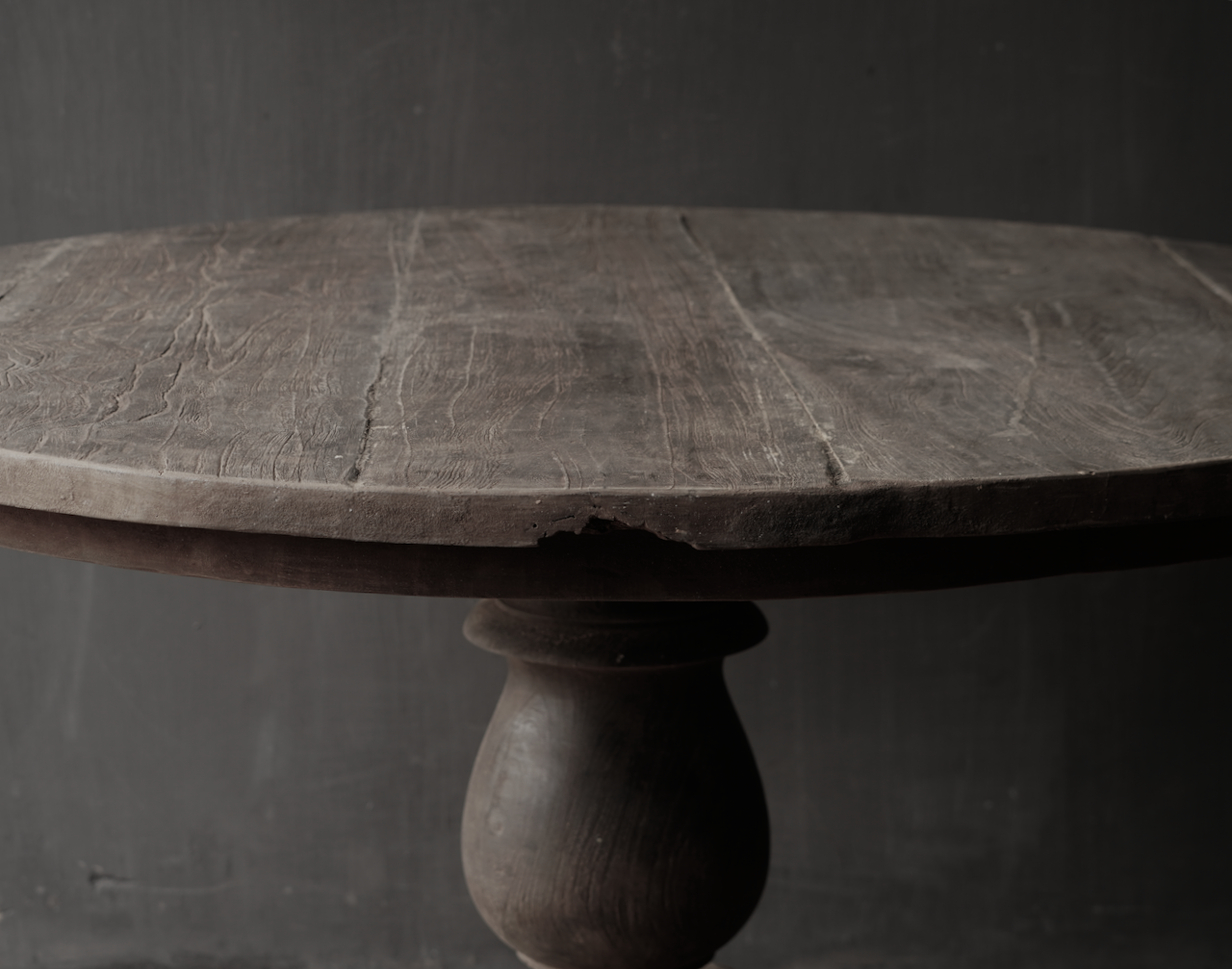 Tough robust round table made of old used wood-4
