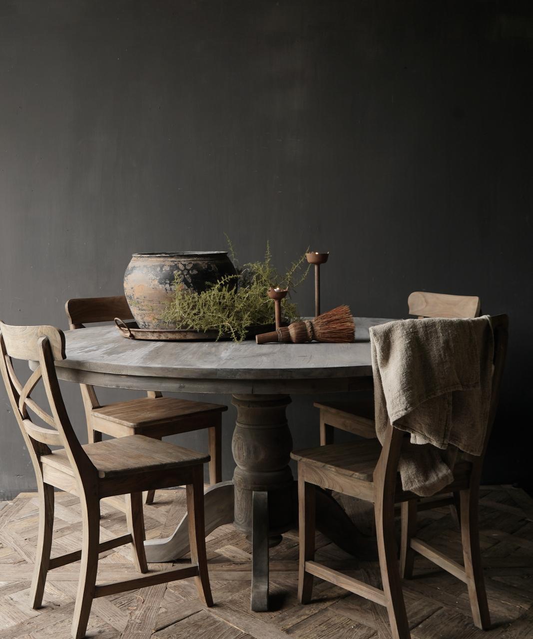 Stoer Robuust ronde tafel gemaakt van oud gebruikt hout-1
