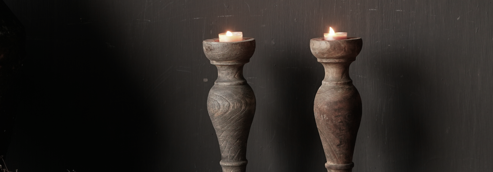 Tough old wooden tea candle holder