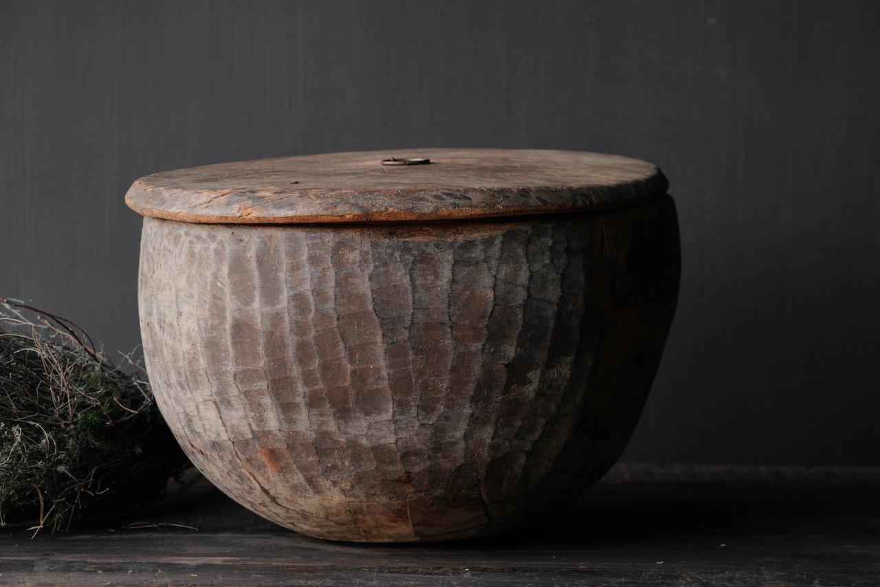 Oude Authentieke houten schaal met deksel-5
