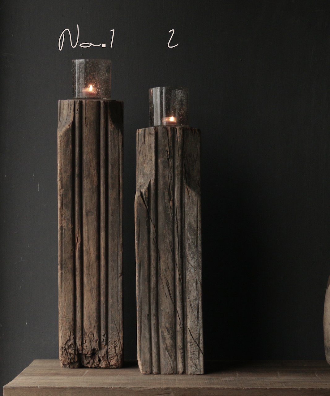 Wooden candlestick made from old Indian pillar-2