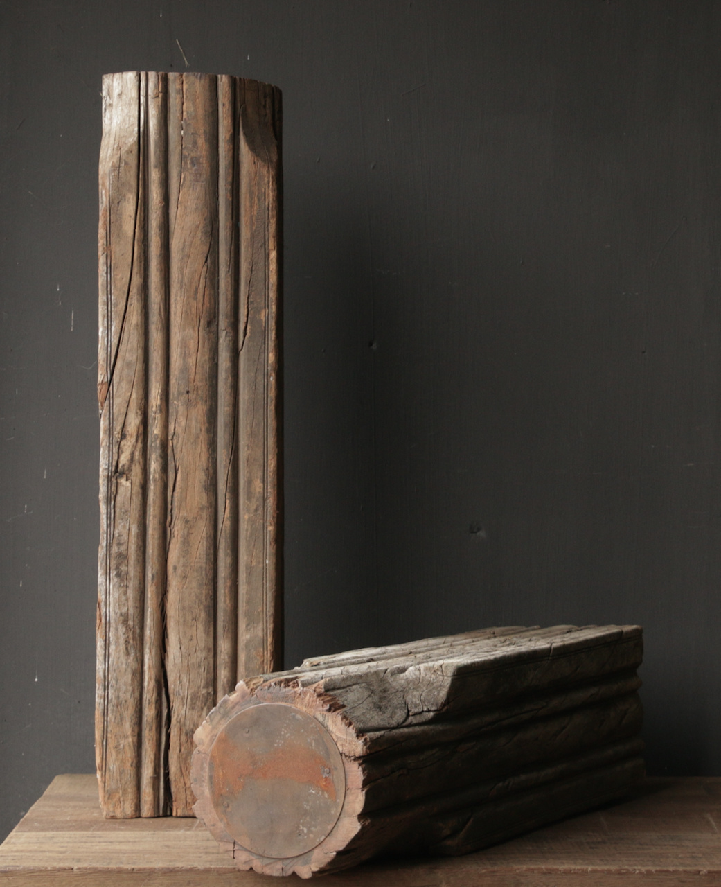 Wooden candlestick made from old Indian pillar-5