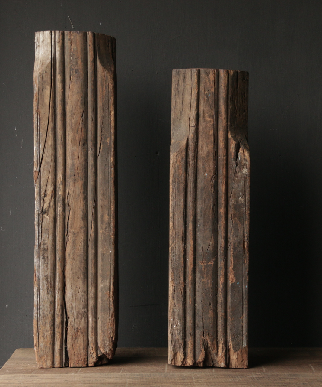 Wooden candlestick made from old Indian pillar-3