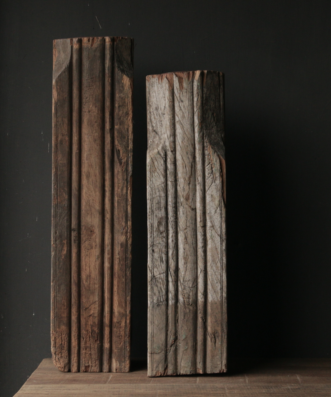 Wooden candlestick made from old Indian pillar-6