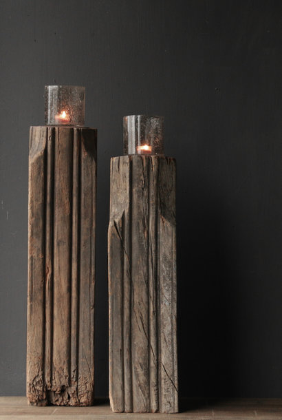 Wooden candlestick made from old Indian pillar