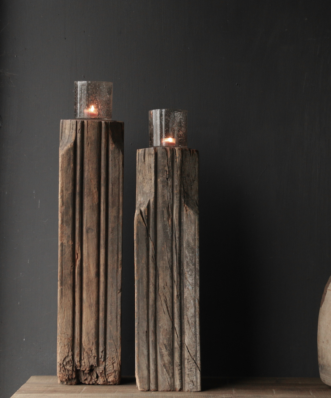 Wooden candlestick made from old Indian pillar-1