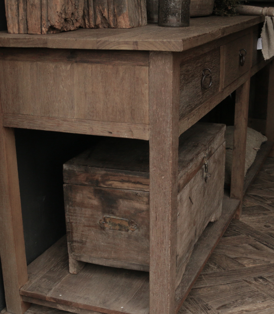 Stoer Robust old wooden side table or wall table with four drawers-3