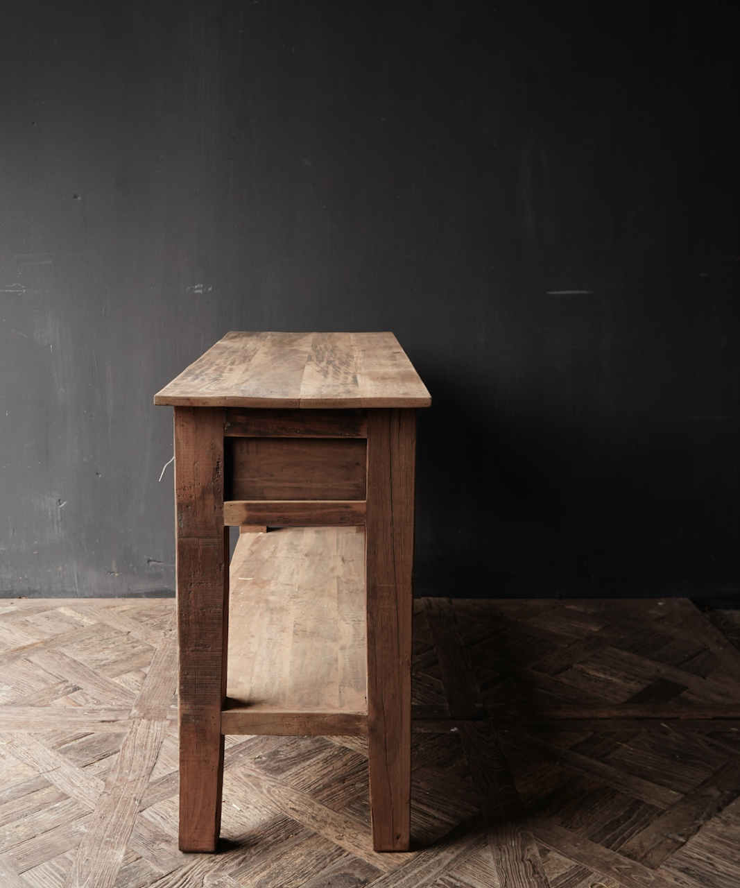 Stoer Robust old wooden side table or wall table with two drawers-2