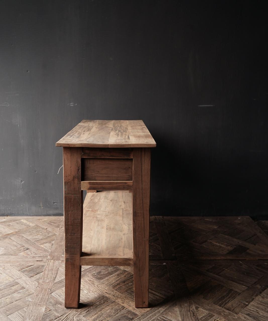 Stoer Robuust oud houten Sidetable oftewel muurtafel met  twee lades-2