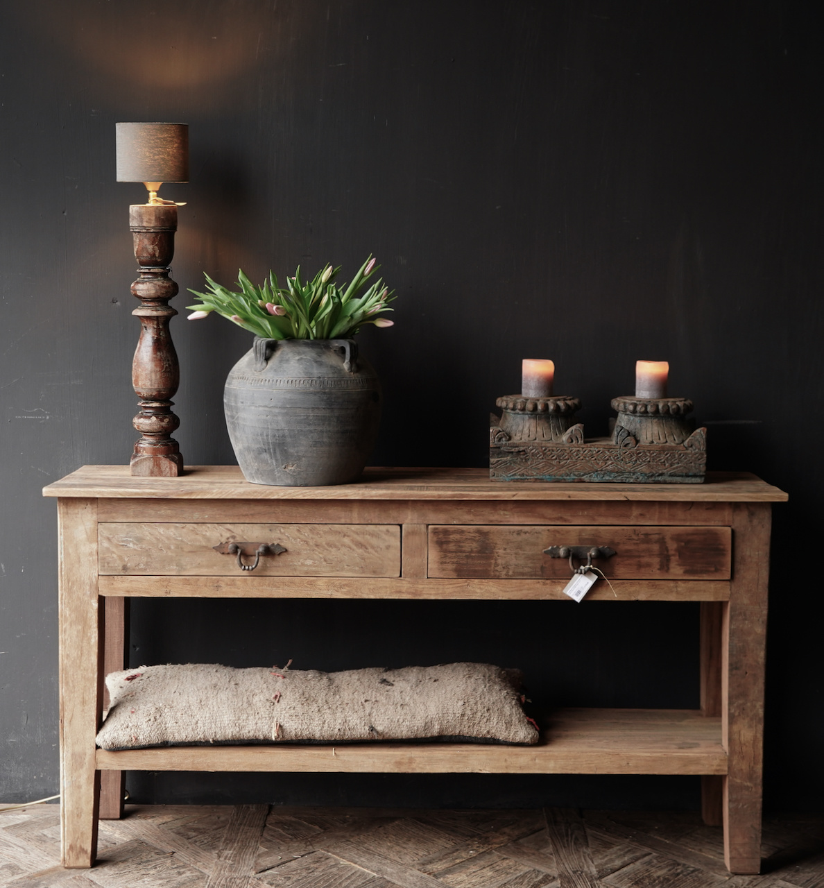 Stoer Robust old wooden side table or wall table with two drawers-3