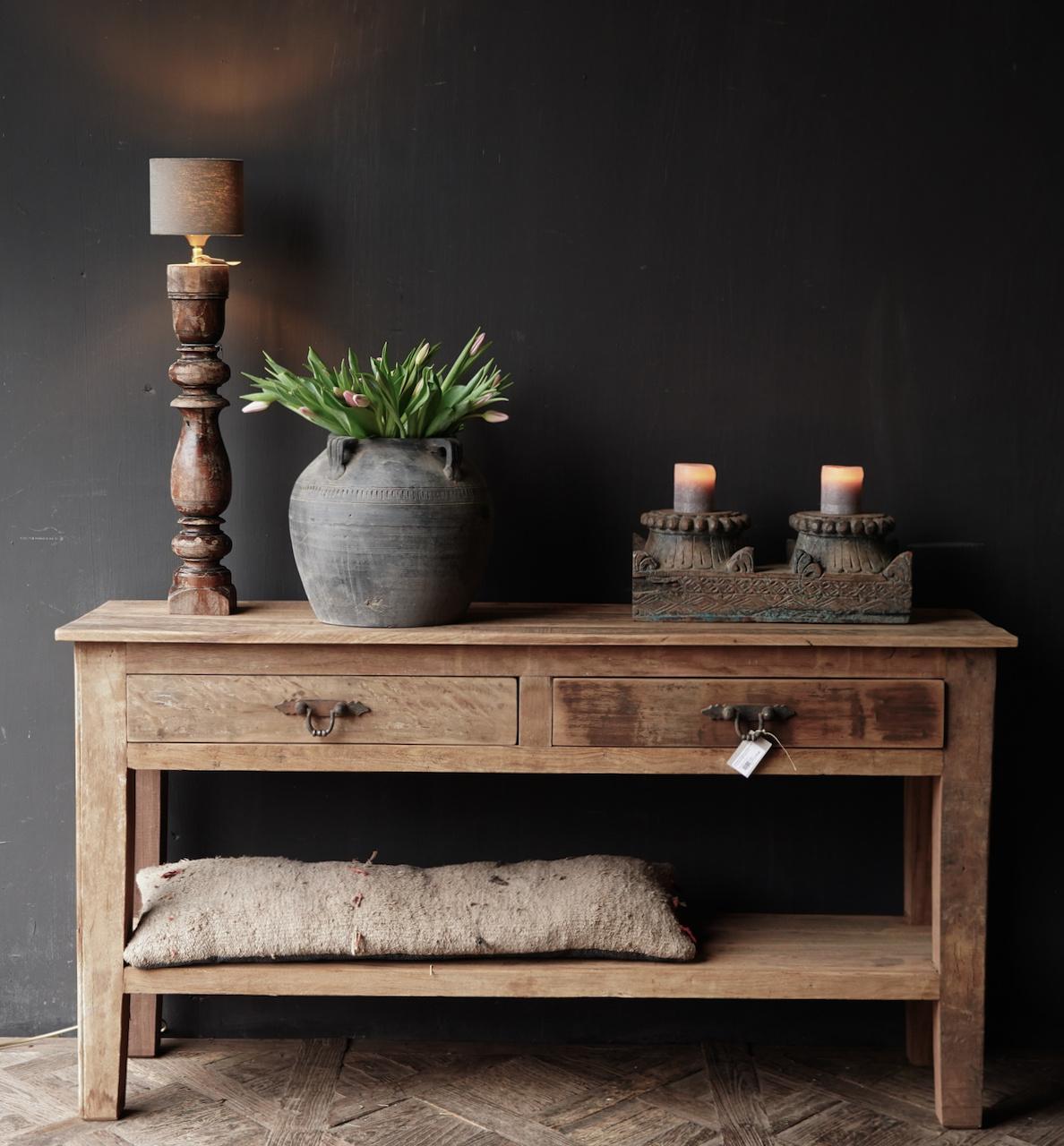 Stoer Robuust oud houten Sidetable oftewel muurtafel met  twee lades-3