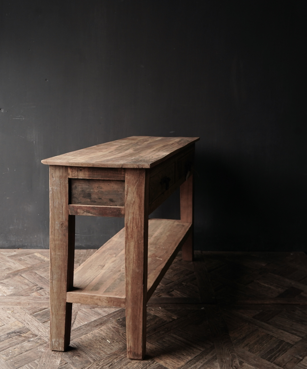 Stoer Robust old wooden side table or wall table with two drawers-4