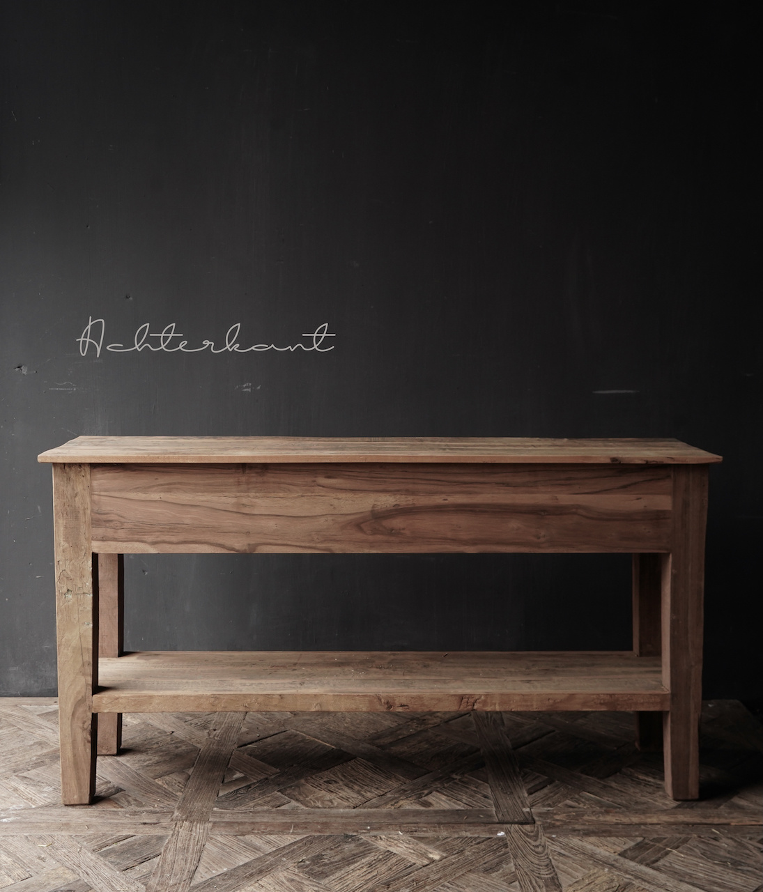 Stoer Robuust oud houten Sidetable oftewel muurtafel met  twee lades-5