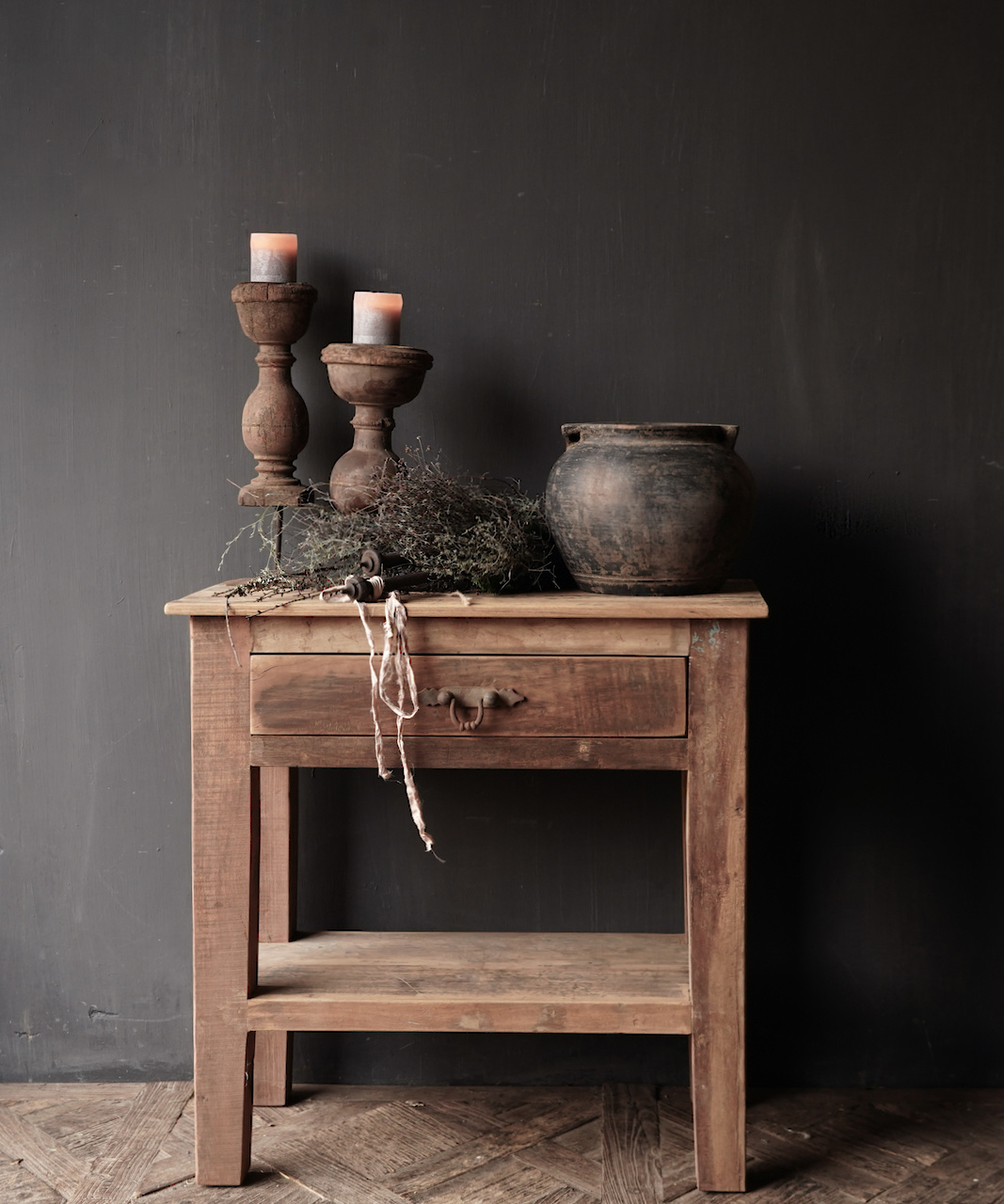 Stoer Robust old wooden side table or wall table with a drawer-1