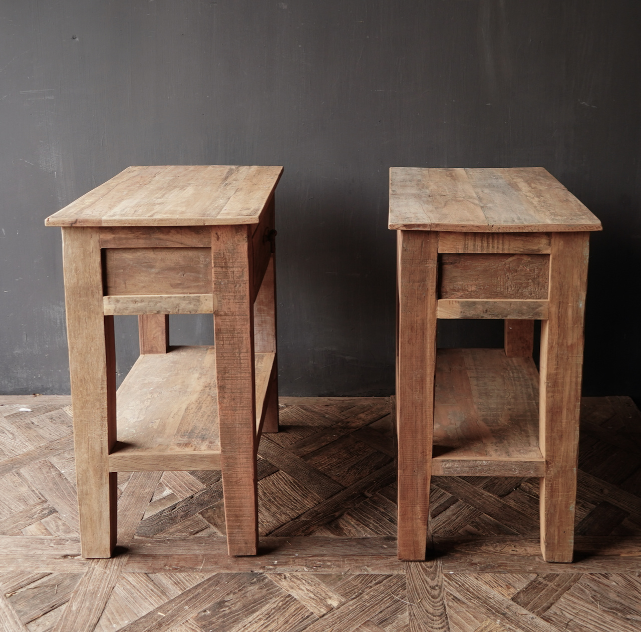 Stoer Robust old wooden side table or wall table with a drawer-3