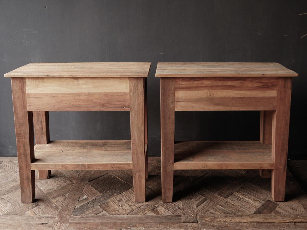 Stoer Robuust oud houten Sidetable oftewel muurtafel met een lade-4