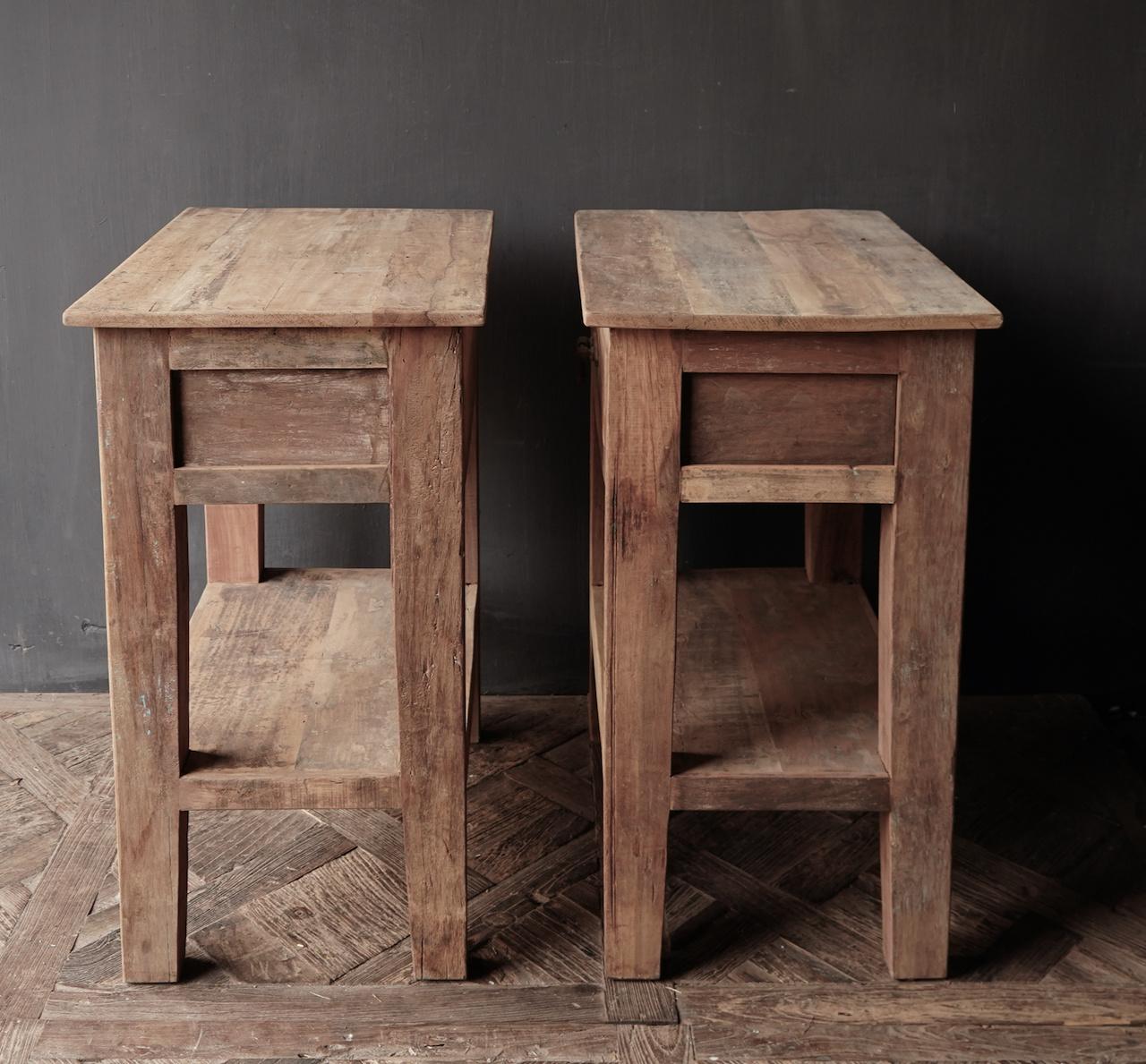 Stoer Robuust oud houten Sidetable oftewel muurtafel met een lade-5