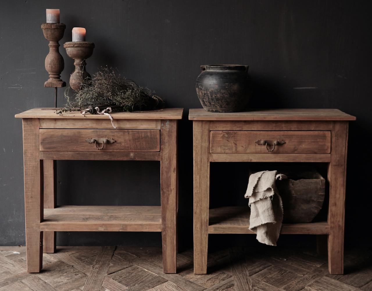 Stoer Robuust oud houten Sidetable oftewel muurtafel met een lade-6