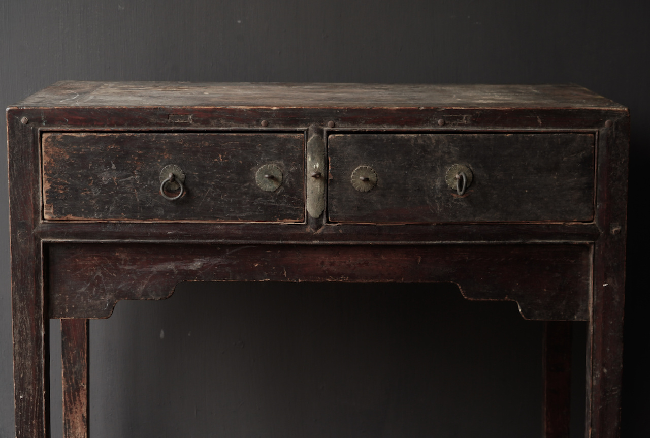 Authentic Unique old wall table / side table with drawers-4