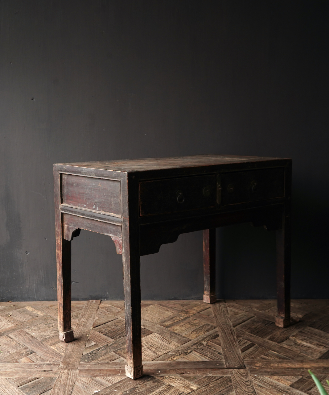 Authentic Unique old wall table / side table with drawers-5