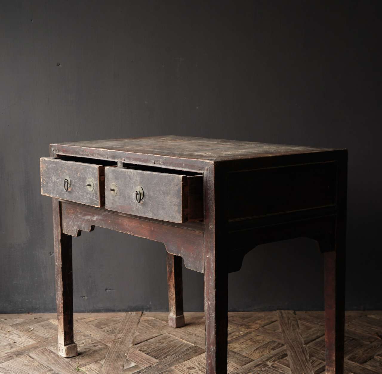 Authentic Unique old wall table / side table with drawers-8